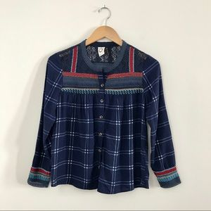Akemi + Kin Embroidered Peasant Blouse Blue Red A7